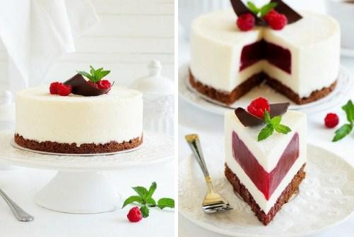 Сливочно-малиновый торт-суфле